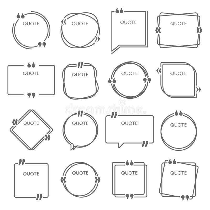 Wycena pudełka Zdanie przytacza ramy, cytuje ramowego wektorowego set, komentarz ceduły pudełka i pomysłu szablonu royalty ilustracja
