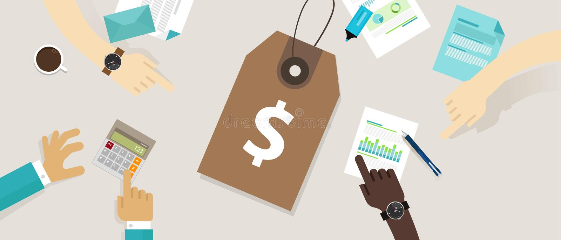 Wycena strategii metka definiuje wartość kosztu produkcji odliczającą analizę ilustracja wektor