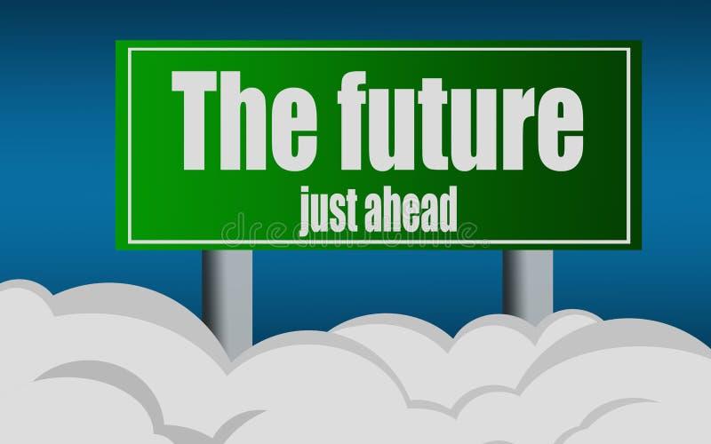 Wychodzi autostrada znaka ulicznego symbol z przyszłościowym słowem ilustracji