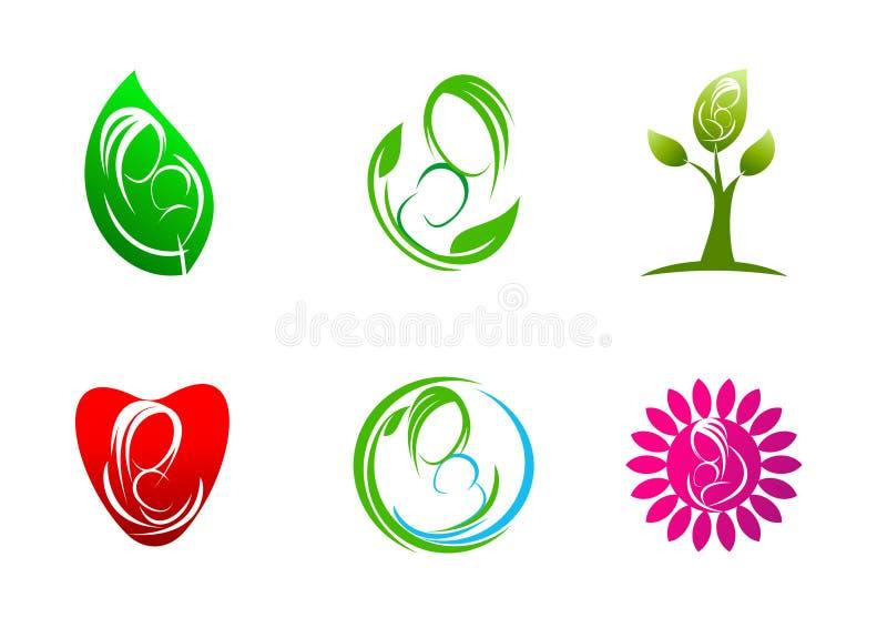 Wychowywać, logo, opieka, rośliny, liść, symbol, ikona, projekt, pojęcie, naturalny, matka, miłość, dziecko ilustracji