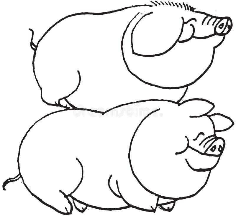 wyciągaj dłonie podobieństwo świnie ilustracja wektor