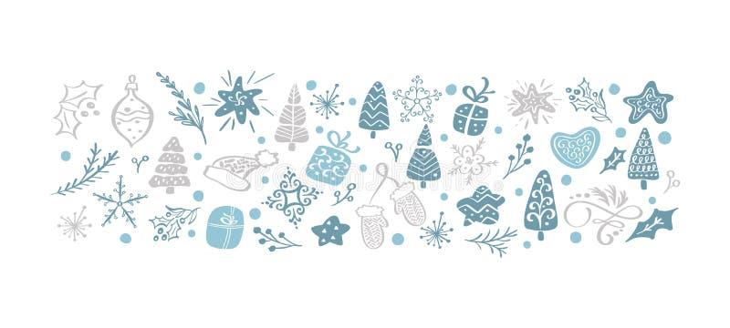 Wyciągane ręcznie roczniki świąteczne Zestaw skandinawskich zabawek, pudełek, gwiazd, słodkich drzew, płatków śniegu ilustracji
