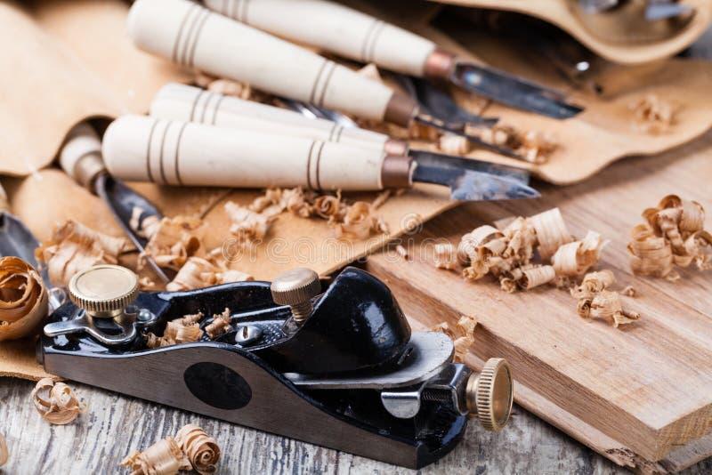 wycięte narzędzia drewnianych obrazy stock