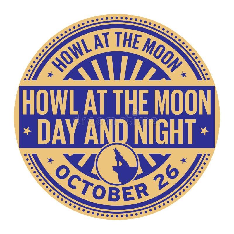 Wycie przy księżyc nocą i dniem ilustracja wektor
