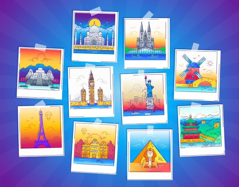 Wycieczek turysycznych fotografie - wektor linii podróży ilustracja ilustracji