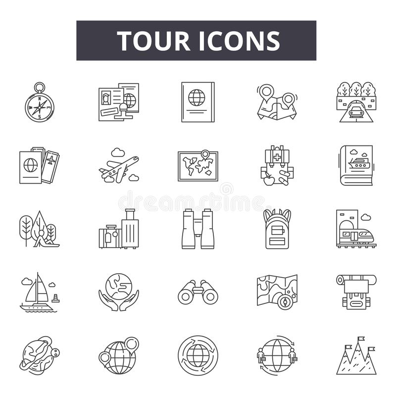 Wycieczek turysycznych kreskowe ikony dla sieci i mobilnego projekta Editable uderzenie znaki Wycieczka turysyczna konturu pojęci ilustracji