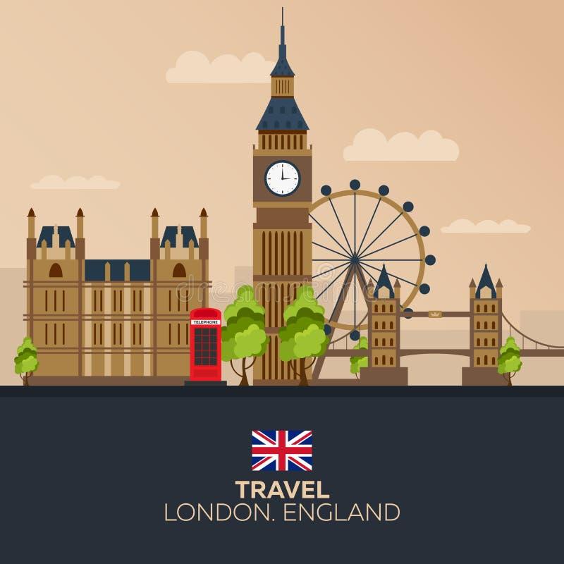 Wycieczka Londyn wakacje Wycieczka samochodowa Turystyka journeyer Podróżny ilustracyjny Londyński miasto Nowożytny płaski projek ilustracji