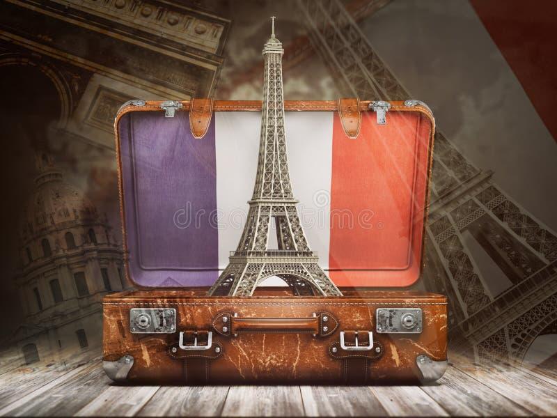 Wycieczka Paryż Podróż lub turystyka Francja pojęcie wieża eiffla ilustracji
