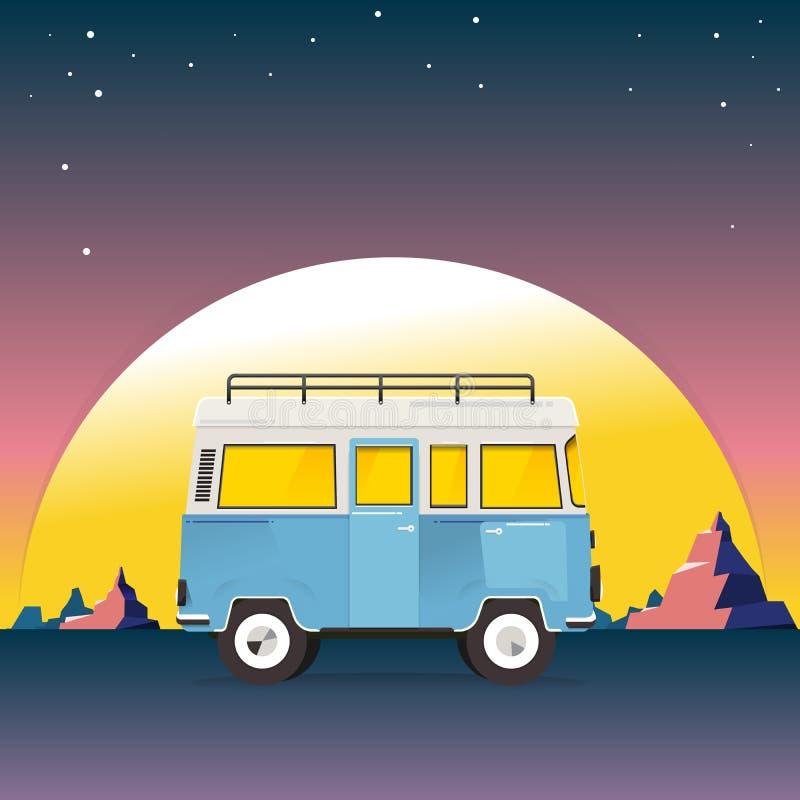 Wycieczka samochodowa Furgonetka z g?ra krajobrazem Podróży pojęcie w górach na tle Przygody w naturze wektor ilustracji