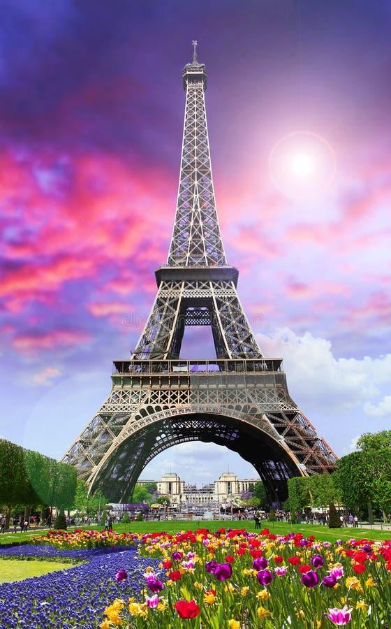 Wycieczka turysyczna Eiffel na zmierzchu obraz stock