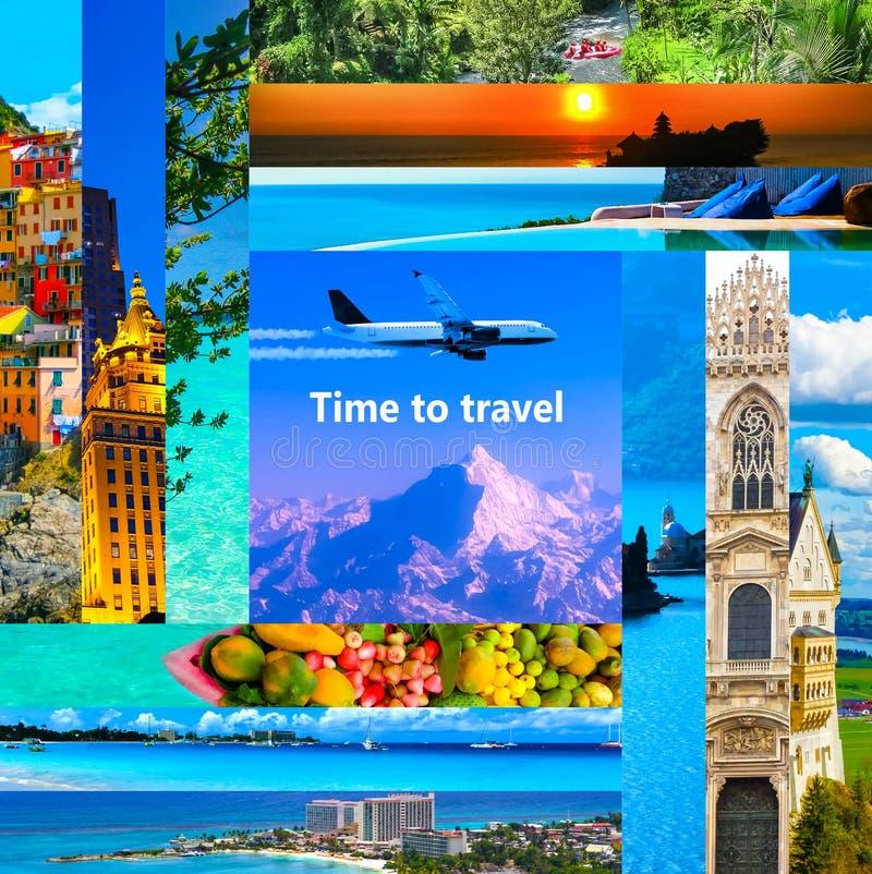 Wycieczka turysyczna pakunków pojęcie Kolaż dla podróż tematu zdjęcie stock