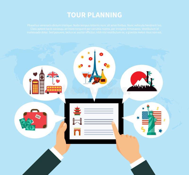 Wycieczka turysyczna projekta Planistyczny pojęcie ilustracja wektor