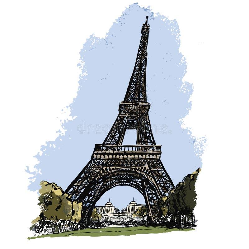 Wycieczka turysyczna w Paryż Eiffel ilustracji