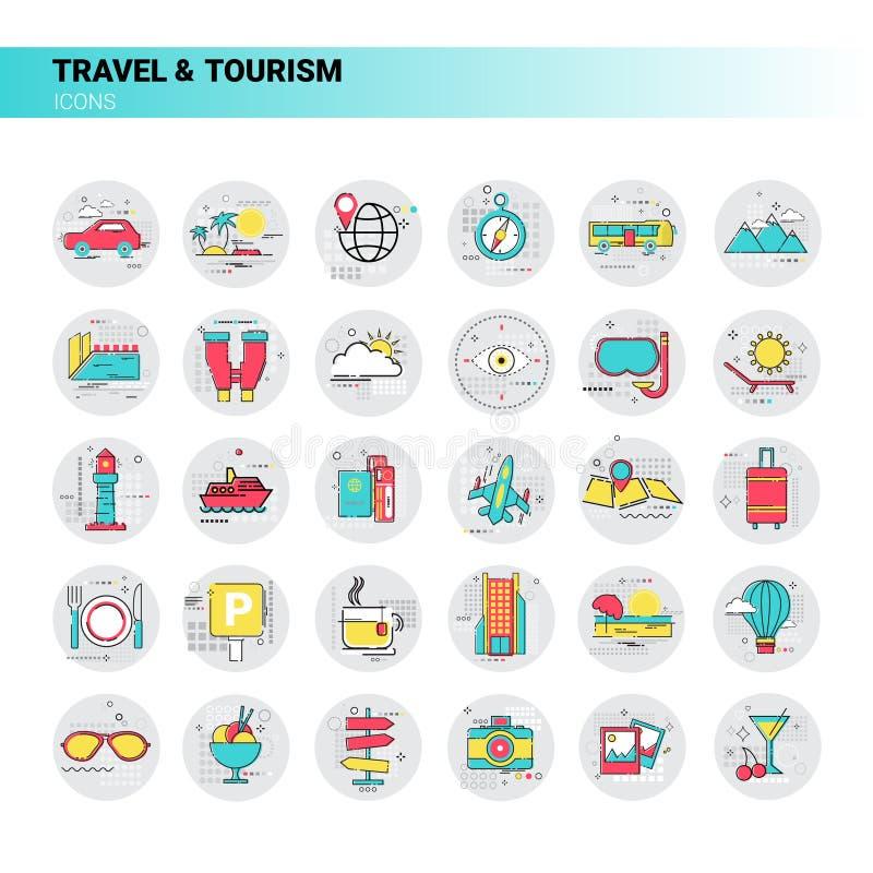 Wycieczki podróży turystyki ikony wakacje Ustalony wakacje ilustracja wektor