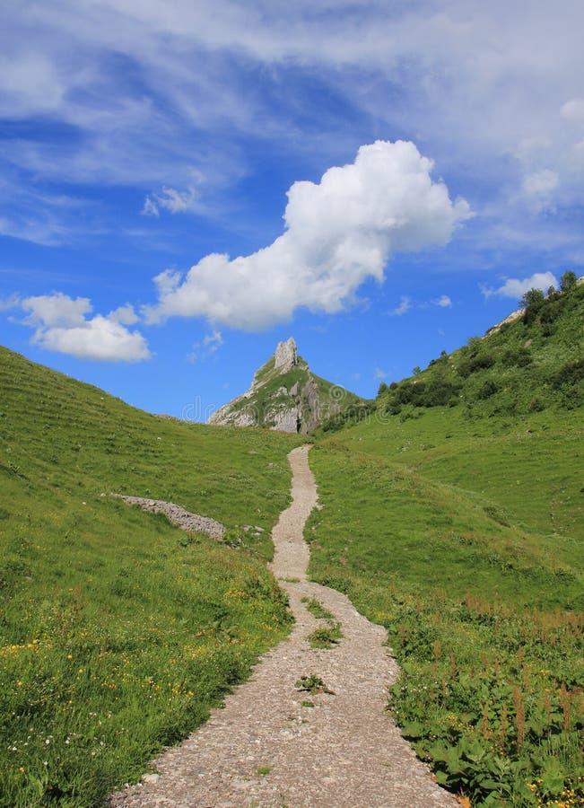 Wycieczkować ślad i chmurę nad Mt Dejenstogg obrazy stock