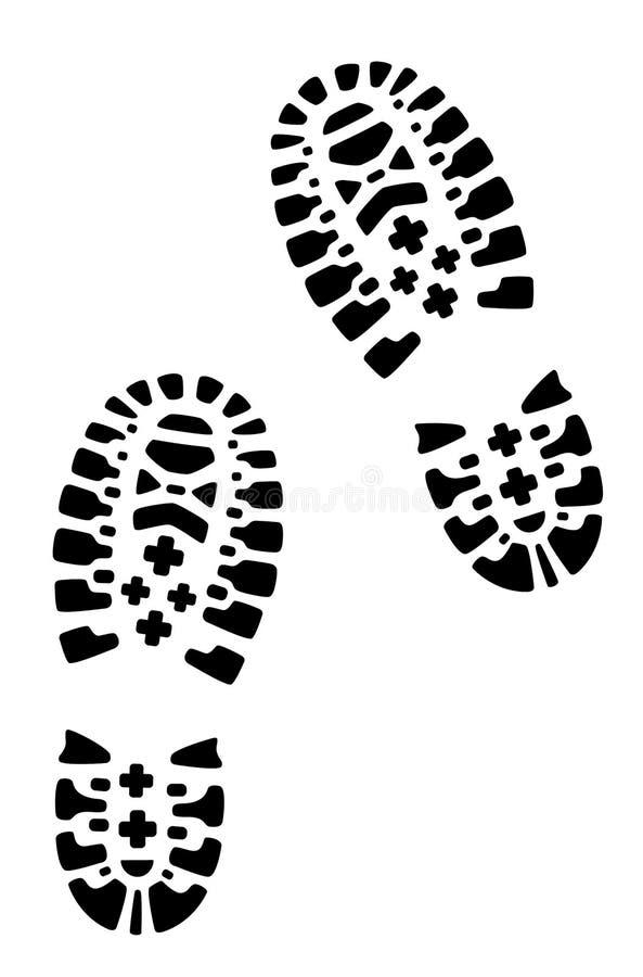 Wycieczkować buty, odciski stopy ilustracja wektor