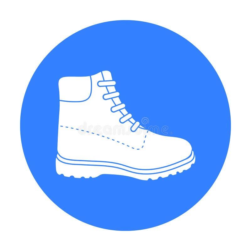 Wycieczkować inicjuje ikonę w czerń stylu odizolowywającym na białym tle Buta symbolu zapasu wektoru ilustracja ilustracja wektor