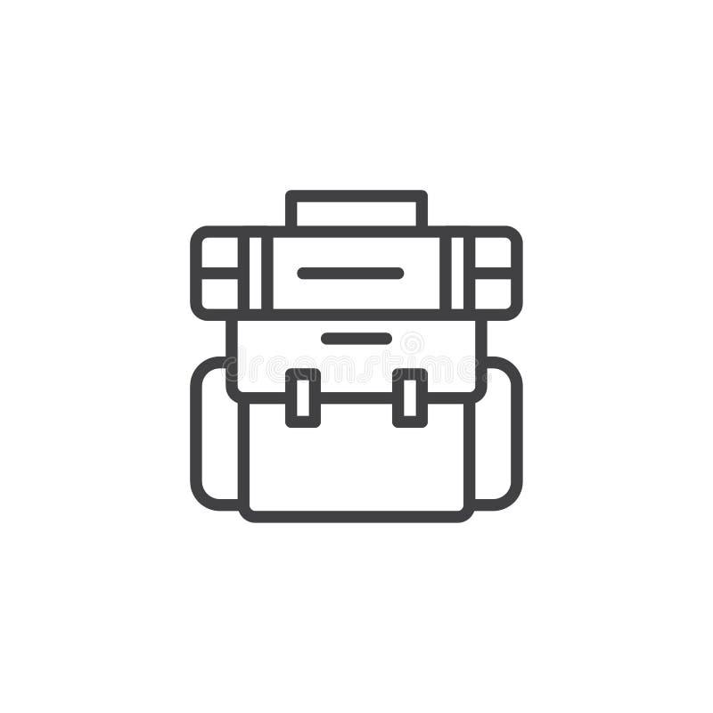 Wycieczkować plecaka konturu ikonę royalty ilustracja