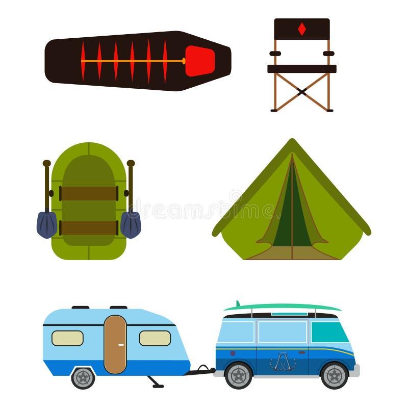 Wycieczkować set Campingowego wyposażenia lata wektorowa kolekcja ilustracji