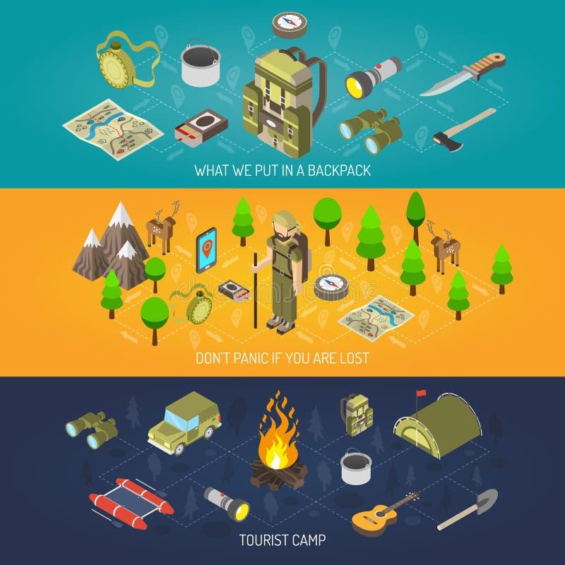 Wycieczkować sztandaru turysty I wyposażenia obóz ilustracja wektor