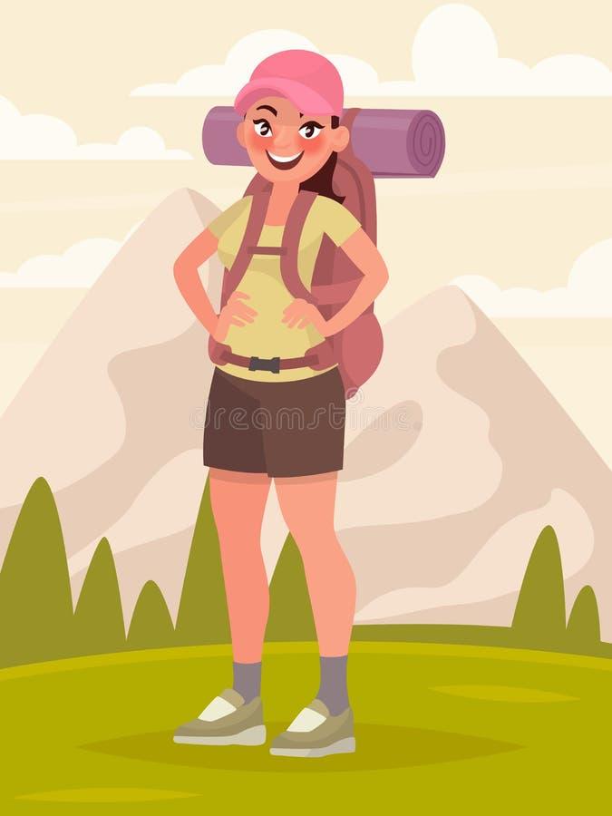 Wycieczkować turystycznej kobiety z wielkim plecakiem w tle a ilustracji