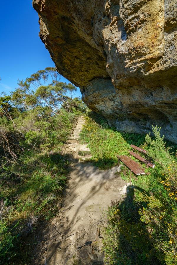 Wycieczkować uroczystego clifftop spacer, błękitne góry, Australia 6 obraz stock