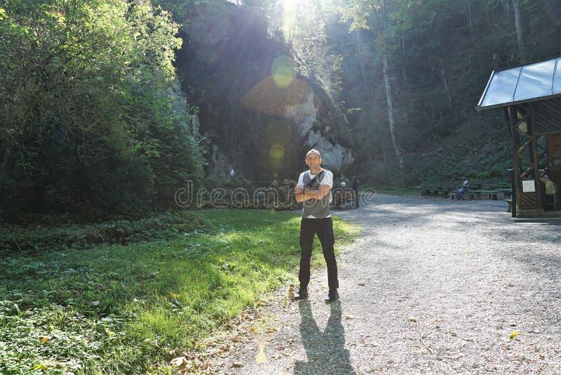 Wycieczkować w beuron zakończenia Tuttlingen mieście w południowym Germany zbyt zdjęcia stock