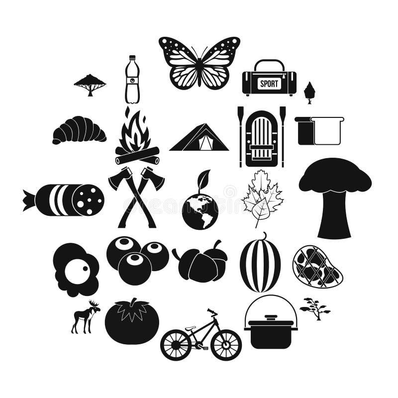 Wycieczkować w pustkowie ikonach ustawia, prosty styl ilustracja wektor