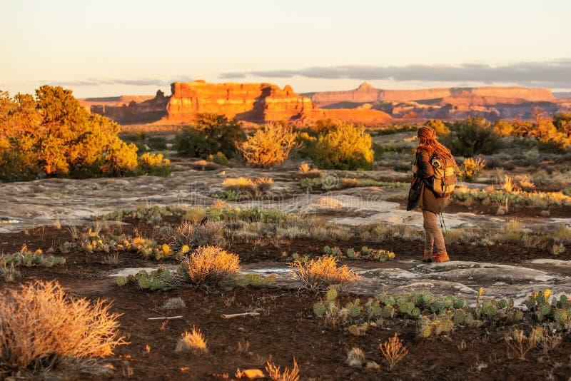 Wycieczkowicz w Canyonlands parku narodowym, ig?y w niebie w Utah, usa zdjęcia royalty free