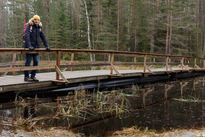 Wycieczkowicz w jesień lesie obraz stock