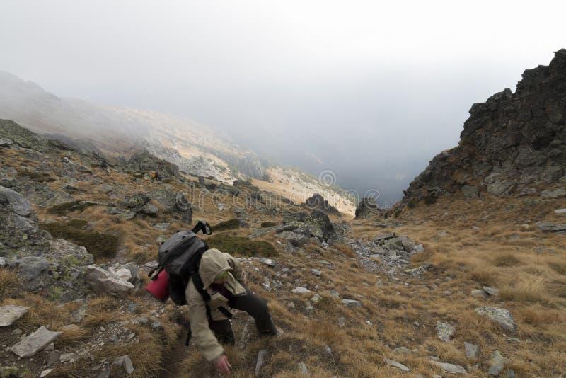 Wycieczkowicz z plecakiem iść w górach fotografia stock