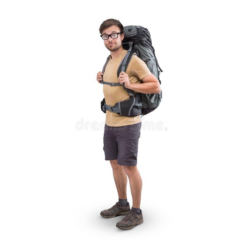 Wycieczkowicz z wielkim plecakiem odizolowywającym na bielu obrazy stock