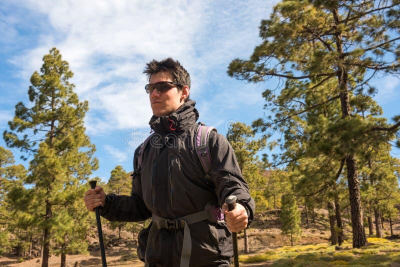 Wycieczkowicza mężczyzna wycieczkuje w lasowym Tenefire, kanarek obrazy stock