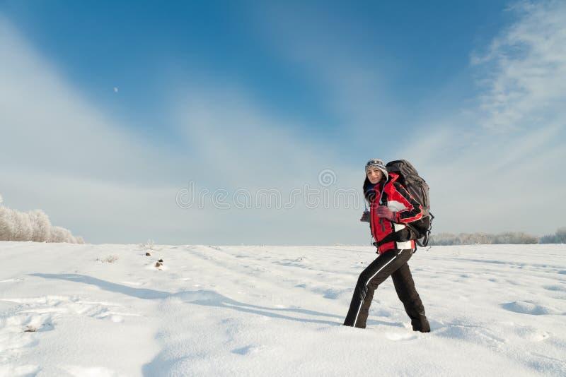 Wycieczkowicza śnieg Zdjęcie Royalty Free