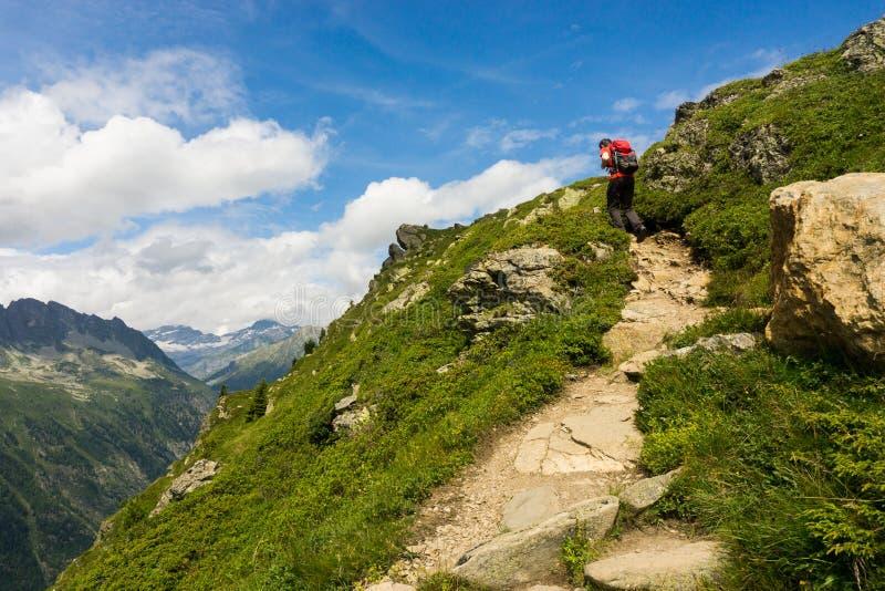 Wycieczkowicza odprowadzenie na pięknej ścieżce w Aiguilles Różuje zdjęcia royalty free