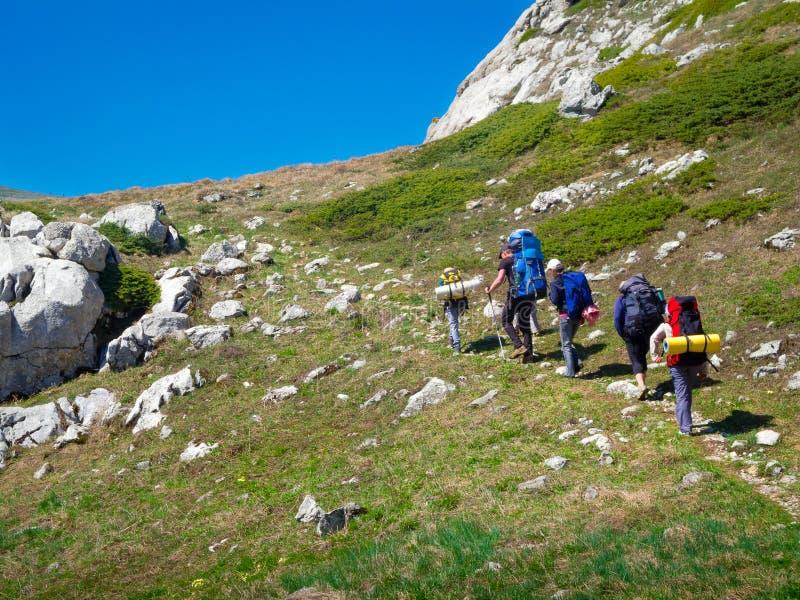 Wycieczkowicze grupują trekking w Crimea zdjęcia royalty free