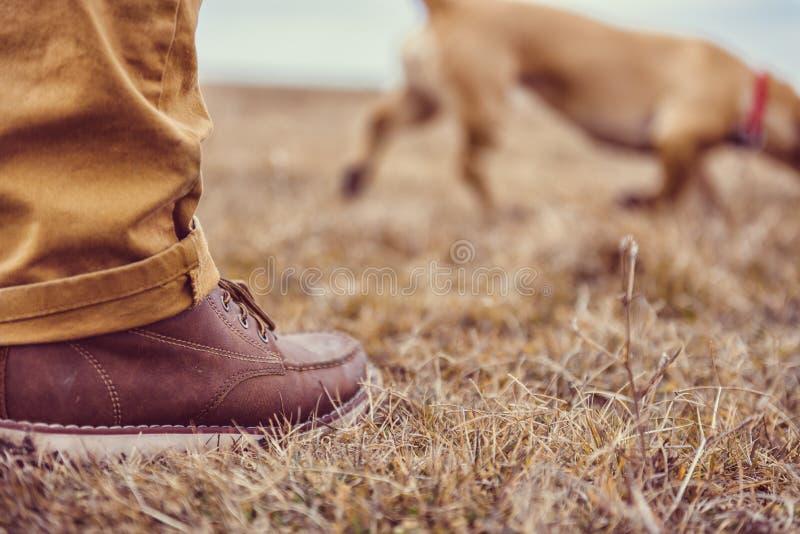 Wycieczkowiczy buty na trawie obraz stock