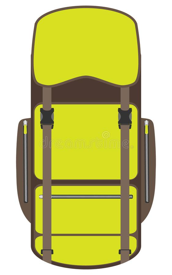 Wycieczkujący i podróż plecak odizolowywający na białym tle Turysty plecy - paczka w płaskim projekcie Obóz, podwyżka plecak i to royalty ilustracja