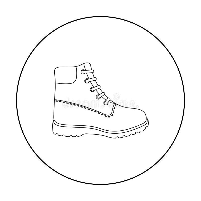 Wycieczkujący but ikonę w konturu stylu odizolowywającym na białym tle Buta symbolu zapasu wektoru ilustracja ilustracji