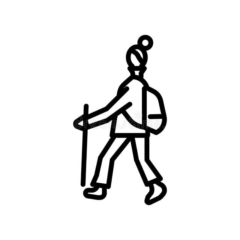 Wycieczkujący ikona wektor odizolowywającego na białym tle, Wycieczkuje znaka, liniowy symbol i uderzenie projekta elementy w kon royalty ilustracja