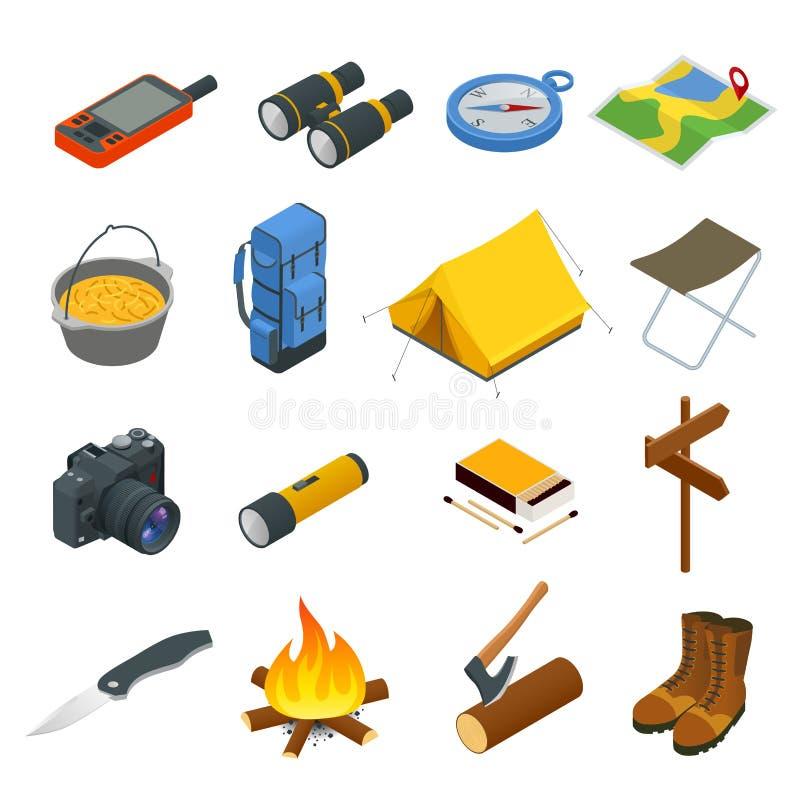 Wycieczkujący ikony ustawiać Campingowa wyposażenie wektoru kolekcja Lornetki, puchar, grill, łódź, lampion, buty, kapelusz, nami royalty ilustracja
