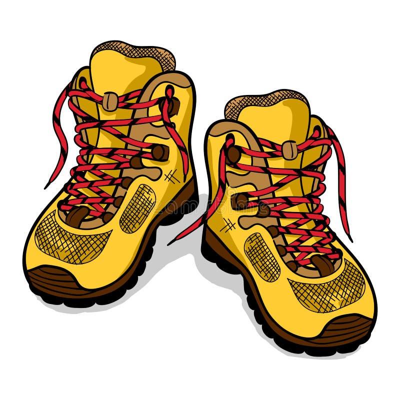 Wycieczkujący but odizolowywa, barwi, nakreślenie, doodle ilustracji
