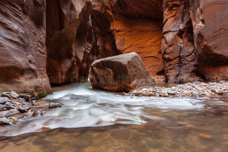 Wycieczkujący w przesmykach, Zion park narodowy, Utah obrazy royalty free