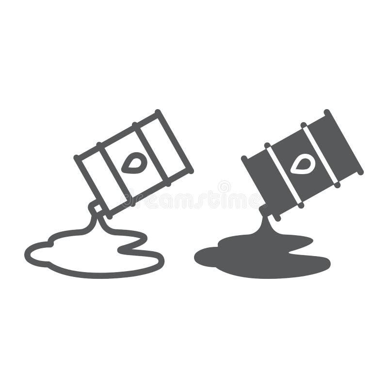 Wyciek ropy linia, glif ikona, paliwo i magazyn, nafcianej baryłki znak, wektorowe grafika, liniowy wzór na bielu ilustracji