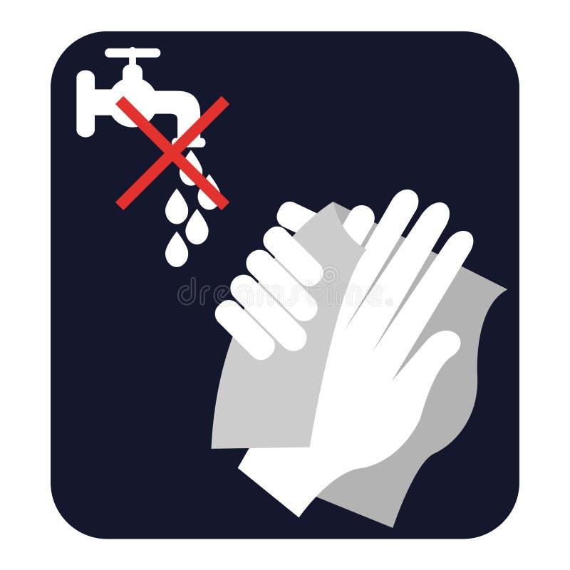 Wyciera twój ręki, no myje one, ilustracja wektor