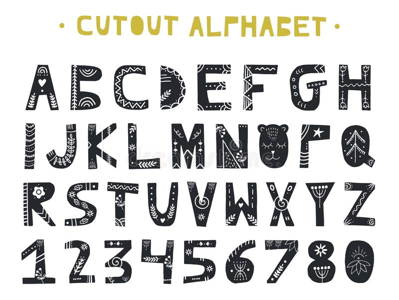 Wycinanka ABC - Łaciński abecadło Unikalni handmade listy z ludowej sztuki ornamentem w scandinavian projektują ilustracja wektor