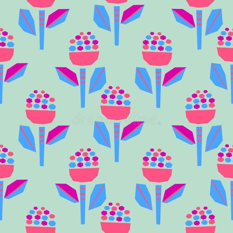 Wycinanka papierowych kwiatów śmiały jaskrawy bezszwowy wzór royalty ilustracja