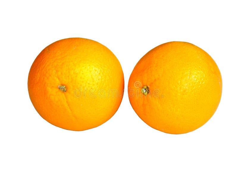 Wycinanki dwa pomarańcze owoc odizolowywająca na białym tle obraz royalty free