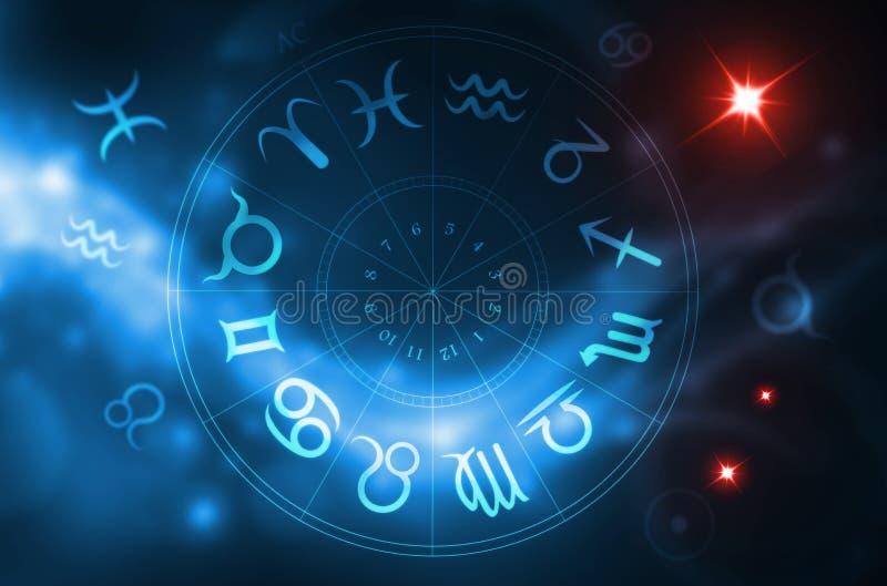 wycinek obejmuje cyfrowe ścieżki gradientów kół zodiaka ilustracyjnego royalty ilustracja