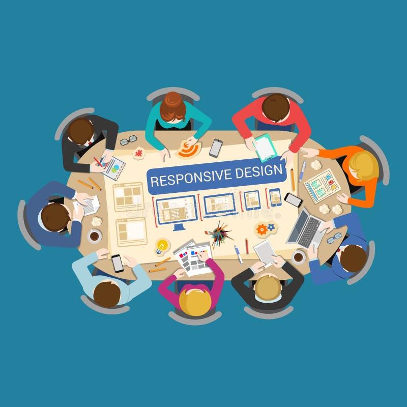 Wyczulonego projekta płaski wektor: tworzenie, UI UX projekta personelu stół ilustracja wektor